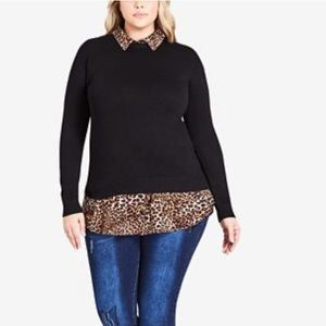 City chic layered look animal print pullover